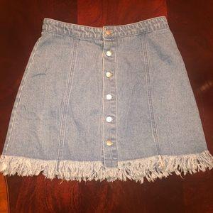 Jean Fringe Skirt